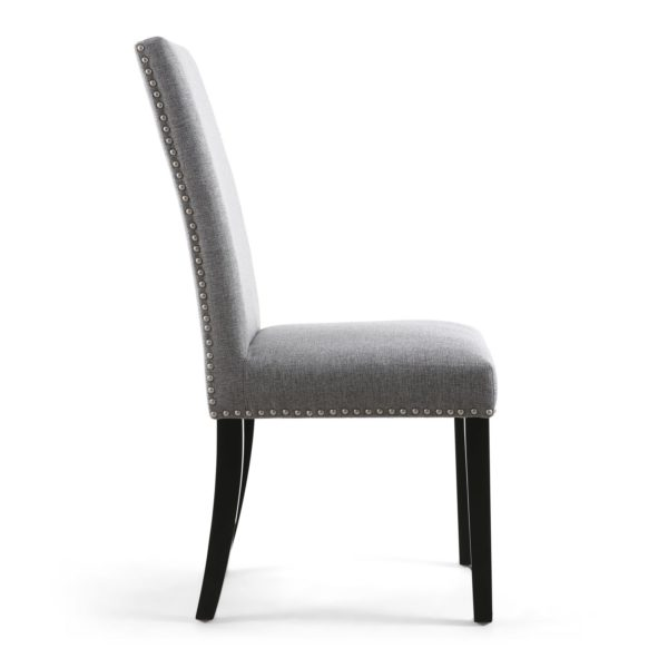 Randall Stud Detail Linen Effect Silver Grey Dining Chair with Black Legs