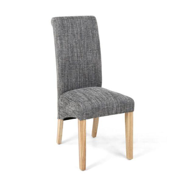 Karta Scroll Back Tweed Grey Dining Chair