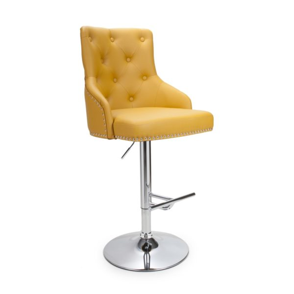 Rocco Leather Effect Yellow Bar Stool