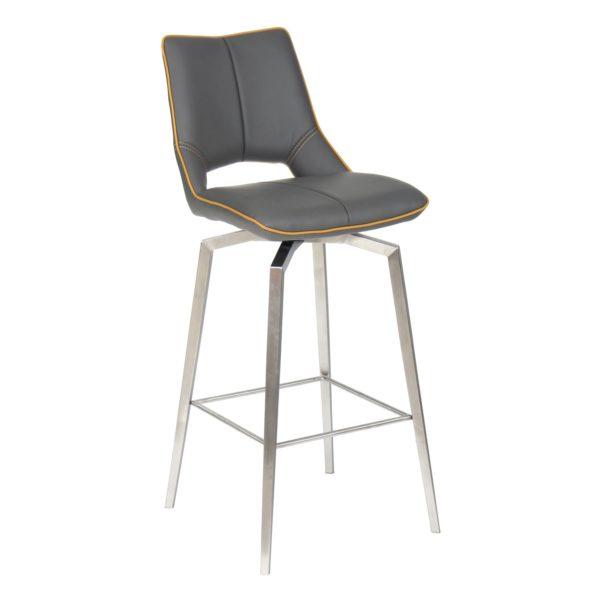 Mako Swivel Self Returning Leather Effect Graphite Grey Bar Chair
