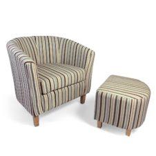 Tub Chenille Stripe Duck Egg Chair & Stool Set