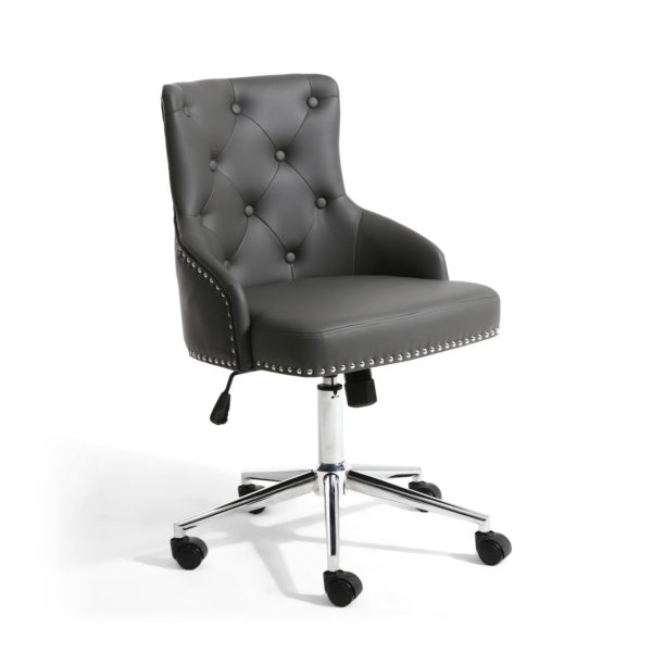 Rocco Leather Effect Graphite Grey Office Chair