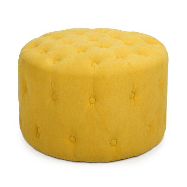 Verona Small Round Sunny Yellow Pouffe