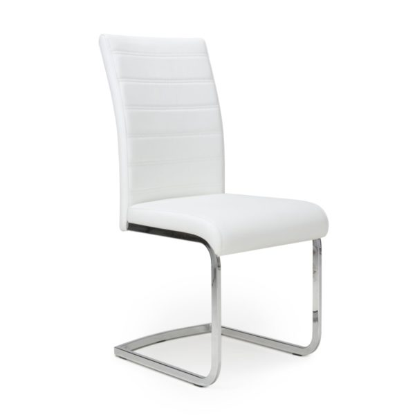 Callisto Leather Effect White Dining Chair