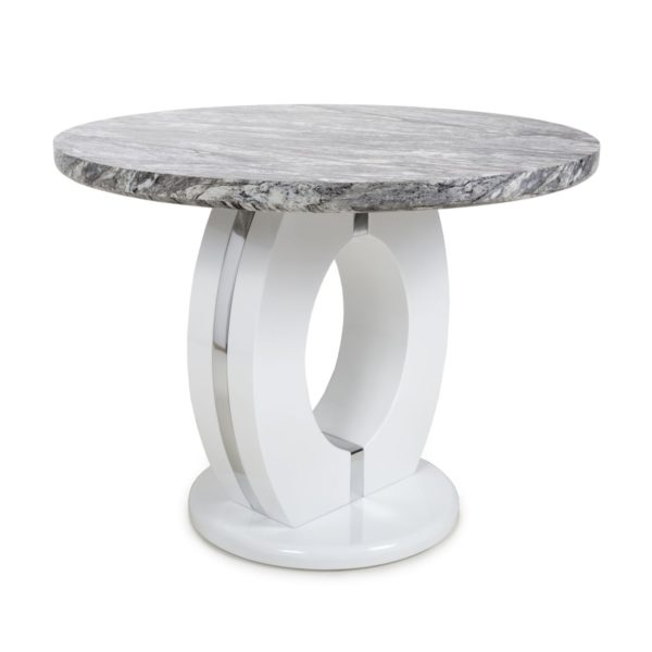 Neptune Round Marble Effect Top Dining Table