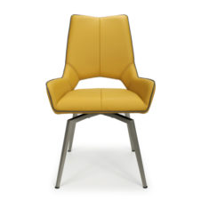 Mako Swivel Leather Effect Yellow Dining Chair