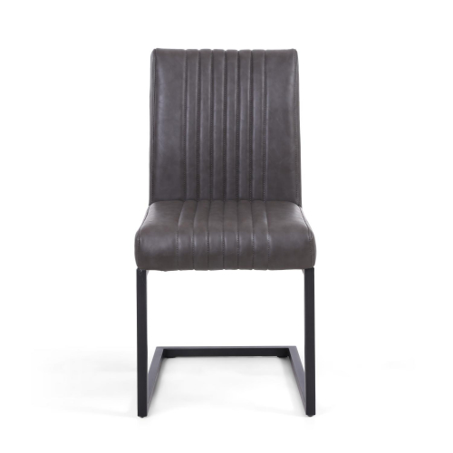 Archer Cantilever Leather Effect Grey Dining Chair